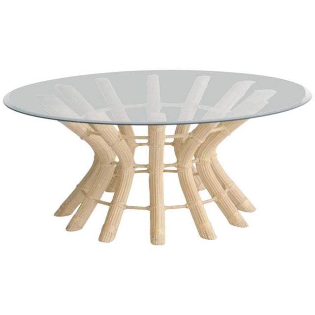 White Sculptural Midcentury Rattan Cocktail Table For Sale - Image 8 of 8