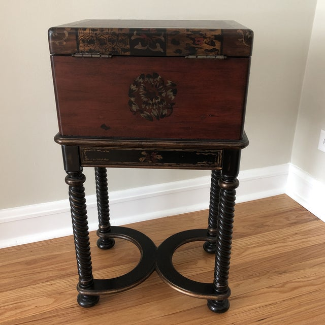 Asian Traditional Hooker Furniture Living Room Dynasty Box on Stand For Sale - Image 3 of 13