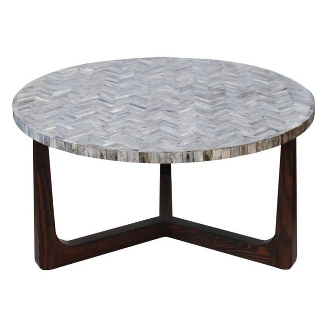 White And Gray Bone Inlay Accent Table: Grey Bone Inlaid Coffee Table