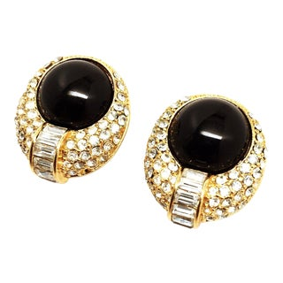 Clip on Earrings With Black Acrylic Center and Gold Tone Round Based For Sale