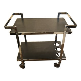 Chrome and Black Wooden Laminate Bar Cart For Sale