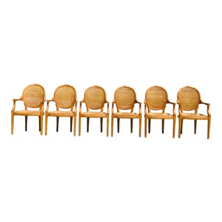 1960s Vintage Faux Bois Branch Form Cane Back Rush Seat Louis XVI Dining Chairs - Set of 6 For Sale
