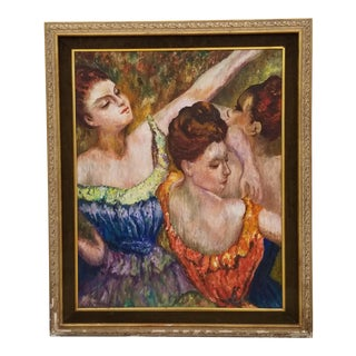 1960s Vintage Three Female Dancers Oil on Canvas Painting For Sale