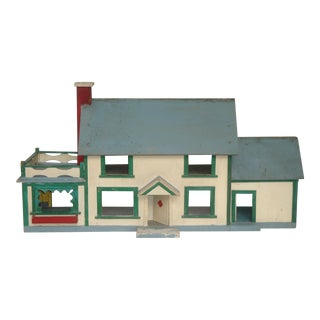 Folk Art Doll House Maquette, American 1920s, Handmade For Sale