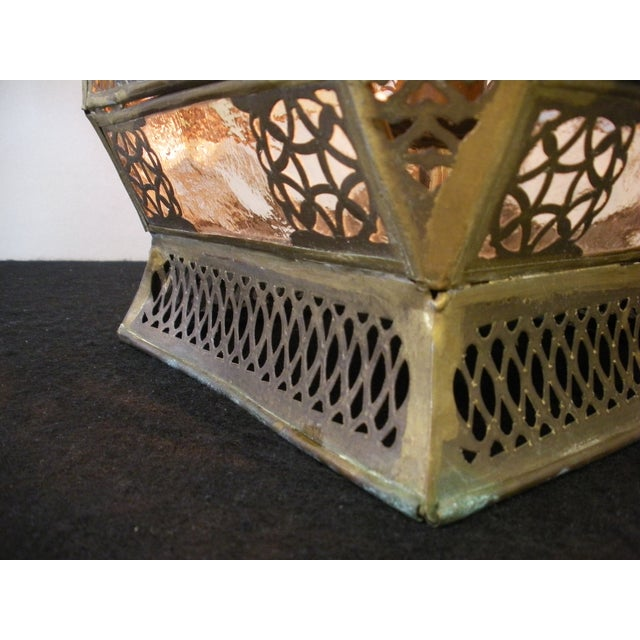 Moroccan Pierced Brass Hanging Lantern For Sale - Image 9 of 12