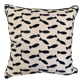 Boho Chic Black and White Embroidered Fish Cotton Pillow For Sale