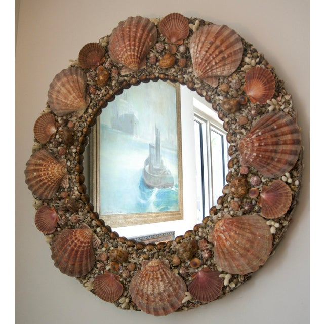 Not Yet Made - Made To Order Hollywood Regency Round Seashell Encrusted Wall Mirror For Sale - Image 5 of 5