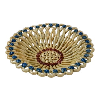 Massier Woven Yellow and Blue Ceramic Bowl, Vallauris, France, 1950s For Sale