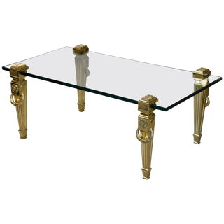Incredible French Hollywood Regency Brass and Thick Glass Coffee Table For Sale