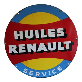 Vintage Renault Porcelain Sign For Sale
