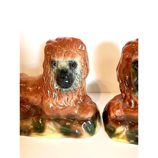 Staffordshire Potteries Pair of Staffordshire Recumbent Lions, Late 19th Century For Sale - Image 4 of 8