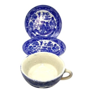 Antique Japanese Blue Willow Plates and Cup - Set of 3 For Sale