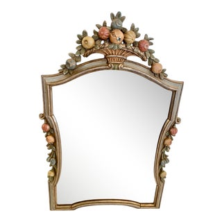 Italian Carved Wood and Painted Mirror For Sale