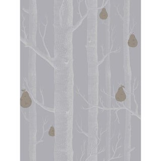 Cole & Son Woods & Pears Wallpaper Roll - Slate/Silver For Sale