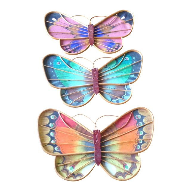 Vintage Rattan & Fabric Butterfly Wall Art - Set of 3 - Image 1 of 11
