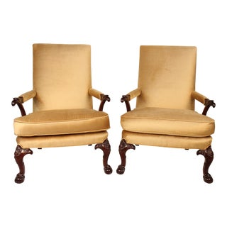 Chippendale Upholstered Mahogany Chairs - A Pair