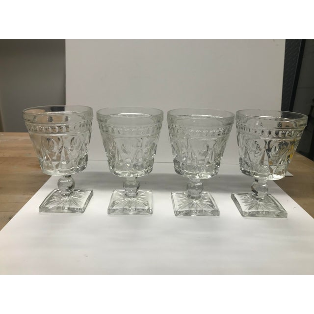 American Vintage Indiana Glass Colony Park Lane Wine or Water Glasses - Set of 4 For Sale - Image 3 of 8