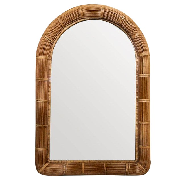 Restored Stick Rattan Wall Mirror With Large Rattan Wrappings For Sale