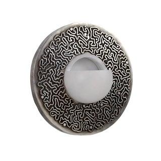 Unique Mid Century Modern Art Deco Ruhlmann Cast Bronze Silver Circular Sconce For Sale
