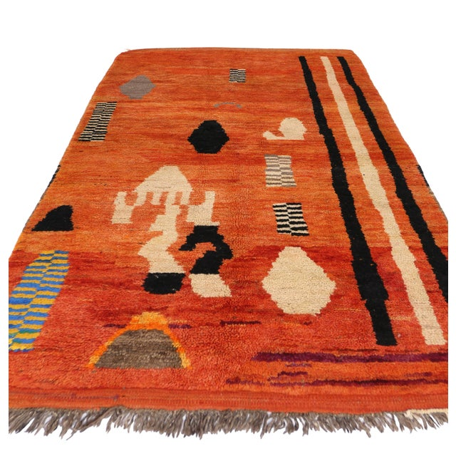 Art Deco Style Berber Moroccan Rug, 4'7x7'3 - Image 4 of 5