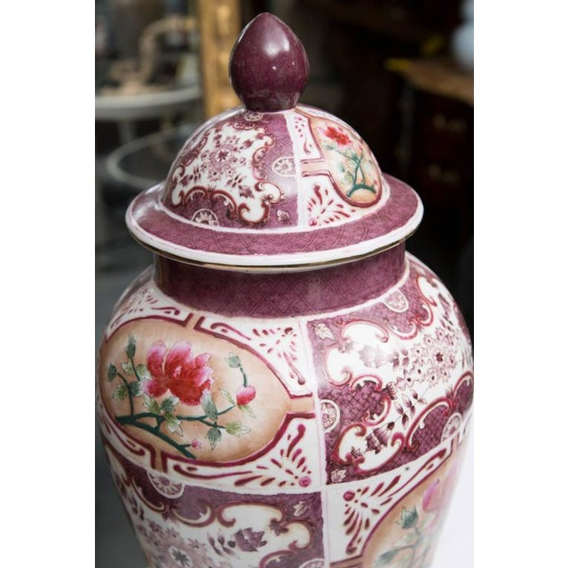 Purple Chinese Lidded Vase with European Inspiration - Image 4 of 7