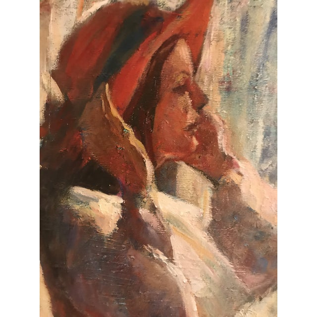 Contemporary Original Acrylic. Girl With Red Hat. Signed Lower Right-Cordes. For Sale - Image 3 of 8