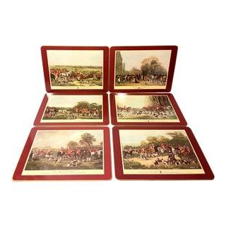 Vintage 1970s Cloverleaf Fox Hunt Luncheon Table Placemats - Set 6 For Sale