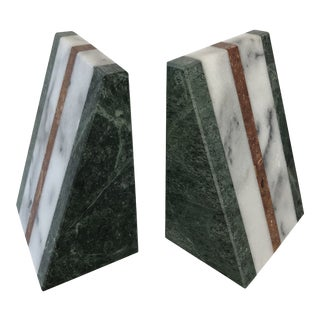 1970s Mid-Century Modern Marble Bookends - A Pair For Sale