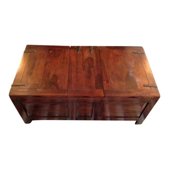 Contemporary Carved Walnut Coffee Table Chest - Image 1 of 7