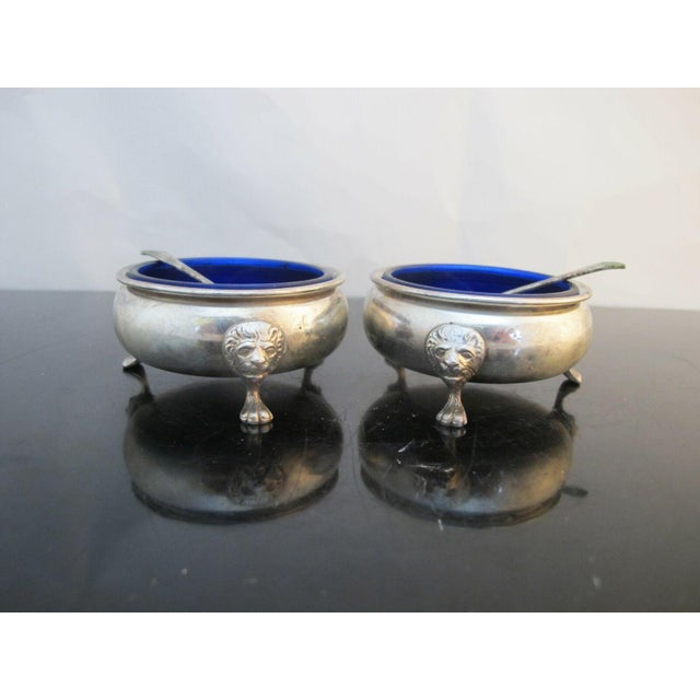Sterling Silver Amston 415 Lion Feet Open Salt Bowls with Cobalt Liners and Spoons - a Pair For Sale - Image 9 of 9