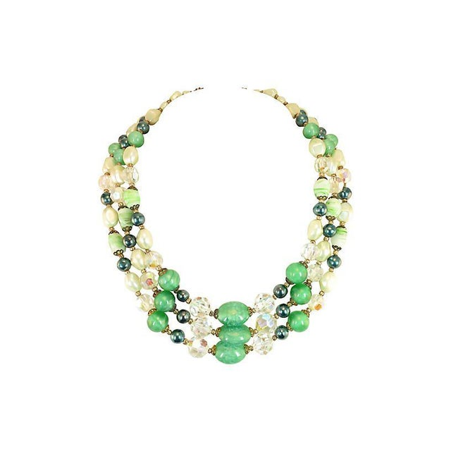 Green Austrian Crystal & Peking Glass Necklace, 1950s For Sale - Image 8 of 8