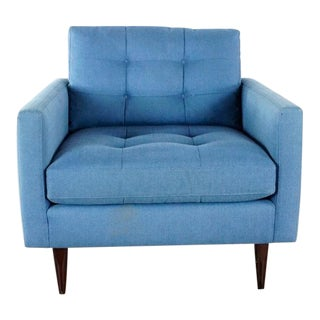 Crate & Barrel Blue Tufted Upholstered Armchair For Sale