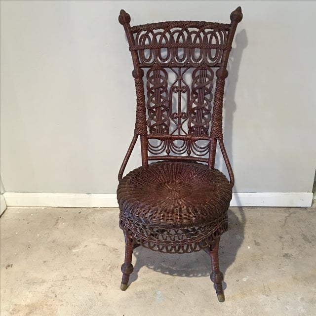 Heywood-Wakefield Victorian Wicker Chair - Image 5 of 11