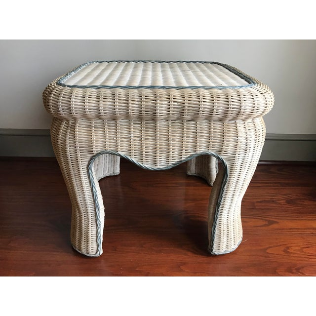 Boho Chic White Washed Wicker Side Table For Sale - Image 9 of 9