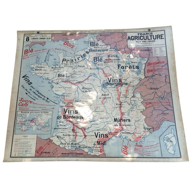 1950s French Two-Sided School Map of France For Sale