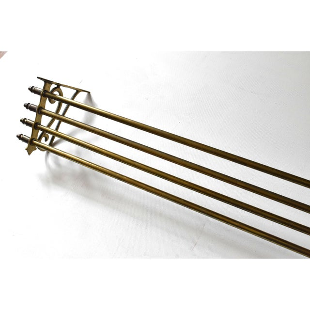 Brass Early 20th Century Vintage Brass Wall Towel Rack For Sale - Image 8 of 9