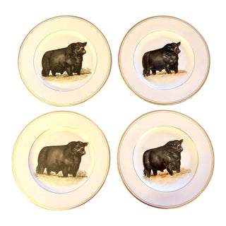 Von Lengerke & Antoine Hand Painted Black Angus Bull Dinner Plates - Set of 4 For Sale