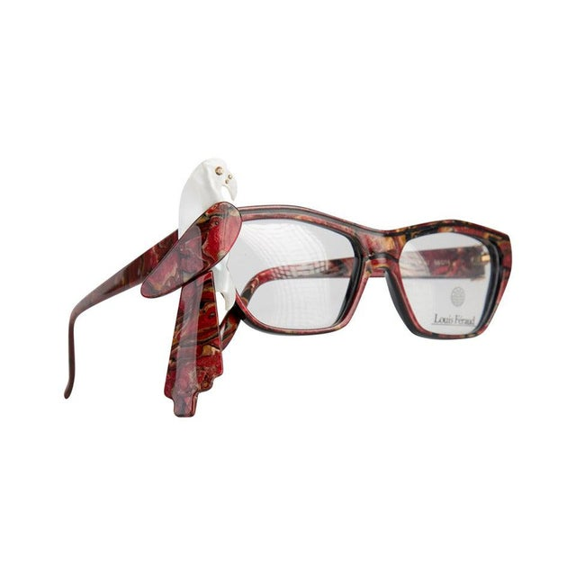 1980s Louis Feraud Parrot Marble Burgundy Glasses Frames for Sunglasses For Sale In Miami - Image 6 of 6
