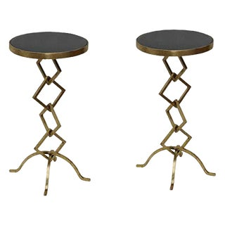 Contemporary Flynn Granite Side Table For Sale