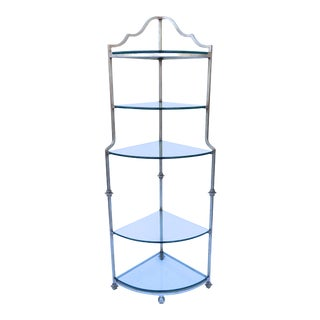 Vintage 1970s Corner Etagere Silvered Iron and Glass Maison Jansen Style Shelf For Sale