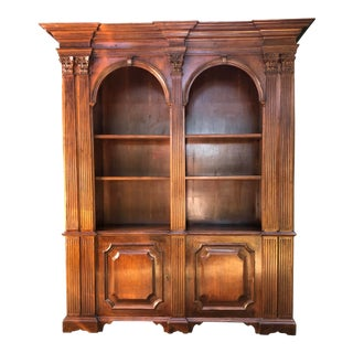 Mahogany Double Arch Italian Bookcase For Sale