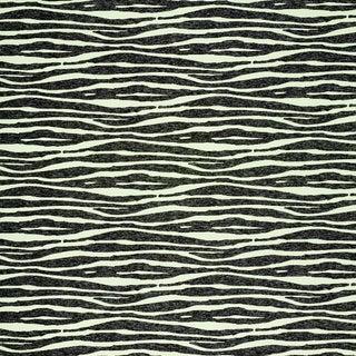 Schumacher Ripple Vinyl Wallpaper in Black & Ivory For Sale