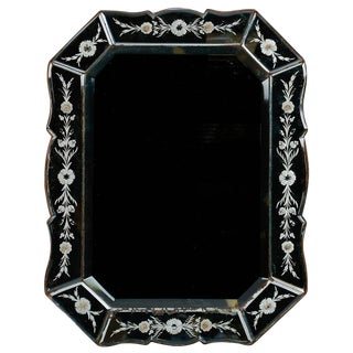 Art Deco Venetian Mirror With Eight Sided Etched Frame For Sale