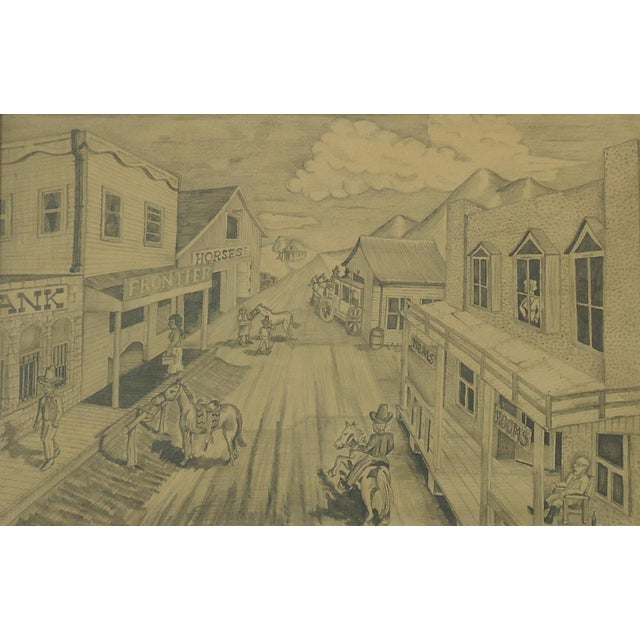 """Illustration Vintage Bob Everett """"Centennial Before the Storm"""" Drawing For Sale - Image 3 of 7"""