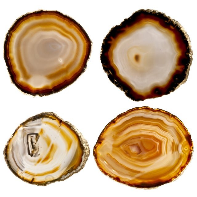 Agate Slice & Gold Rim Coasters - Set of 4 - Image 1 of 2