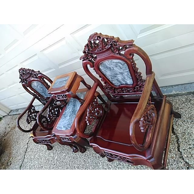 Chinese Carved Solid Rosewood Marble Back Armchairs - a Pair - Image 5 of 9