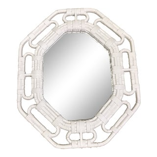 Vintage Boho Style Bamboo Plastic Mirror For Sale