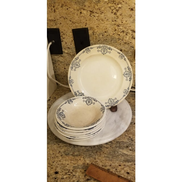 """Antique White 19th Century Staffordshire Blue and White English Allerton """"Cairo"""" Dishes - Set of 8 For Sale - Image 8 of 8"""