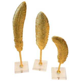 Decorative Gold Feathers on Lucite - Set of 3 For Sale