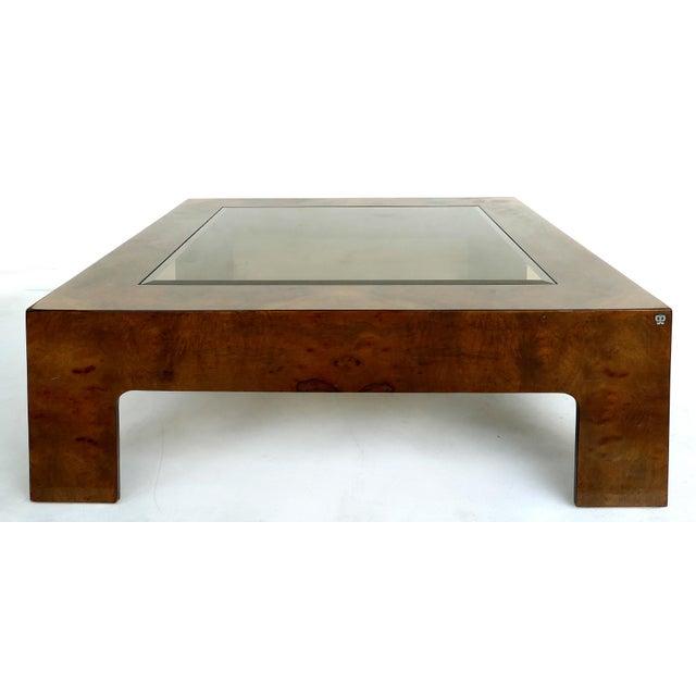 Vintage Burlwood & Beveled Glass Coffee Table For Sale - Image 9 of 9